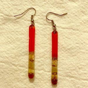 Vintage Red Quartz Dangle Earrings